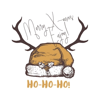메리 크리스마스 재미 있은 상징, 로고, lable 또는 배지. 산타 모자와 사슴 뿔 축제 해피 홀리데이 손으로 그린 그림