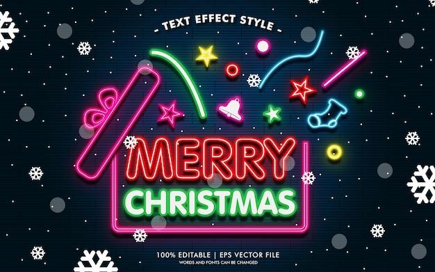 네온 텍스트 효과 스타일의 메리 크리스마스 선물 배너