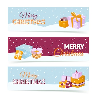 Merry christmas gift box banners