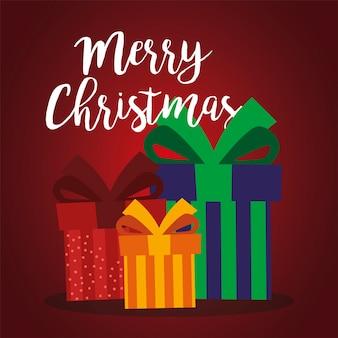 메리 크리스마스 선물 상자 축하 파티 디자인 일러스트 레이션