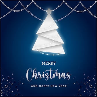 Merry christmas gift card with lights and white tree on blue background
