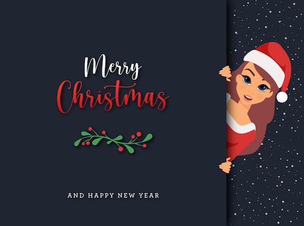 サンタクロースの衣装を着た女性とメリークリスマスギフトカード