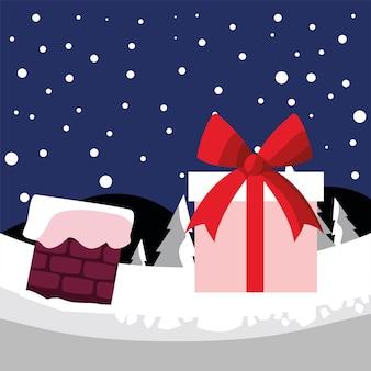С рождеством христовым подарочный дымоход в снежном ландшафтном дизайне