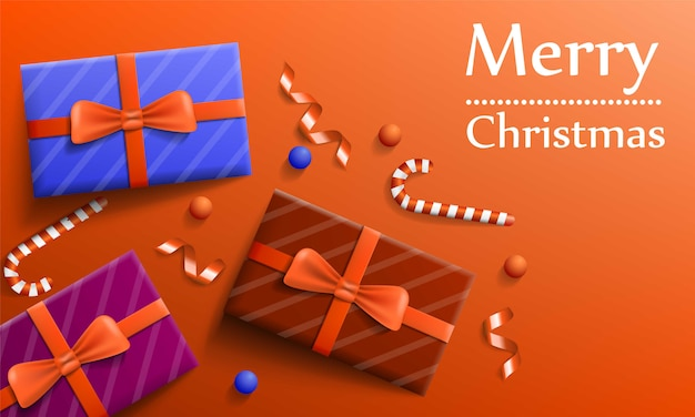 Merry christmas gift concept banner, realistic style