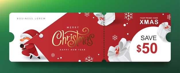 Merry christmas gift promotion coupon banner with cute santa claus and festive decoration for christmas