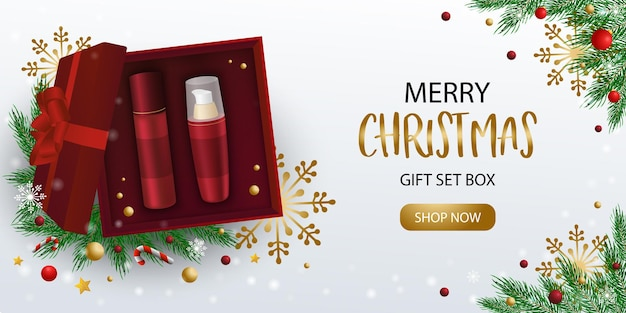 Merry christmas gift set box banner with decorations, template for web banner