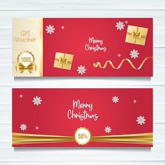 Merry christmas gift voucher template design.