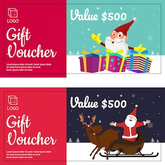 Merry christmas gift vouchers with happy santa clause, gift boxes, and reindeers.
