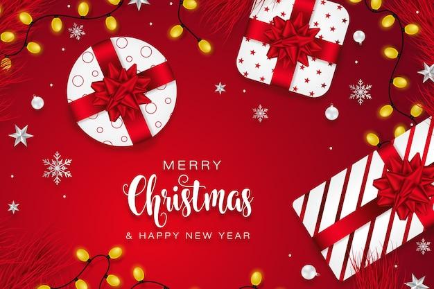 Веселые рождественские подарки сезоны приветствие фон