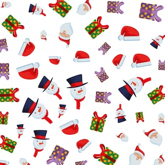 Merry christmas gifts with hats and snowman pattern