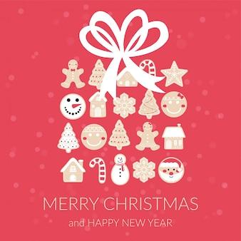 メリークリスマスジンジャーブレッドボックスグリーティングカード