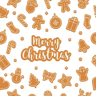 Merry christmas gingerbread cookie set seamless pattern isolated background