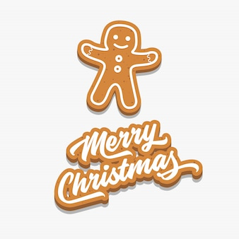 Merry christmas and gingerbread man.