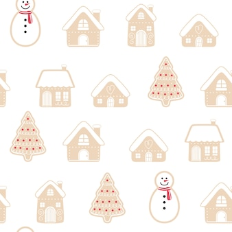 Merry christmas gingerbread seamless pattern background set