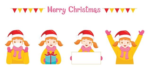 メリークリスマス、さまざまなアクションで冬のコートの女の子