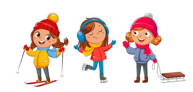 Счастливого рождества. девушка с санями, лыжами и коньками. симпатичные девушки герои мультфильмов, зимние виды спорта. привет зимняя концепция. фондовый вектор иллюстрация на белом фоне
