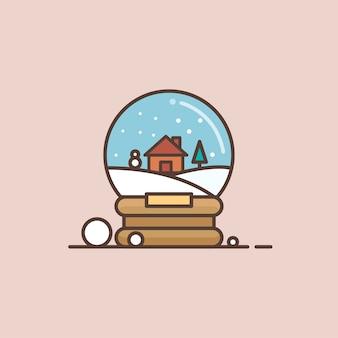 Merry christmas glass ball minimal icon vector illustration
