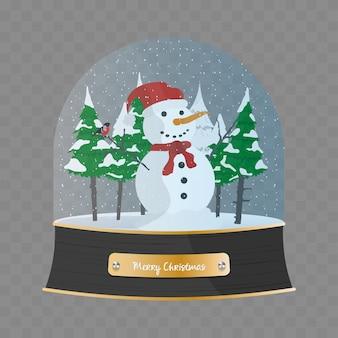 雪だるまと雪の中でクリスマスツリーとメリークリスマスのガラス玉。スノードーム