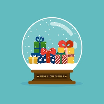 Merry christmas glass ball with christmas gifts.