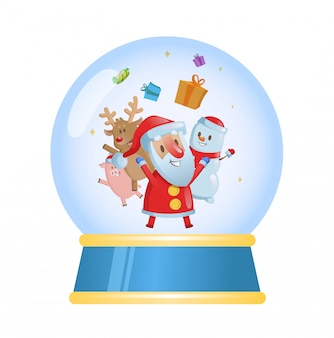 Merry christmas glass ball with santa and his friends.   illustration.  on white background.
