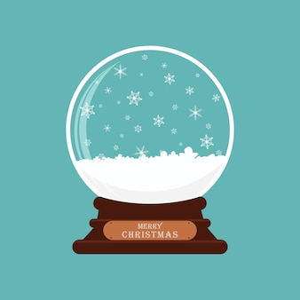 Merry christmas glass ball with snow