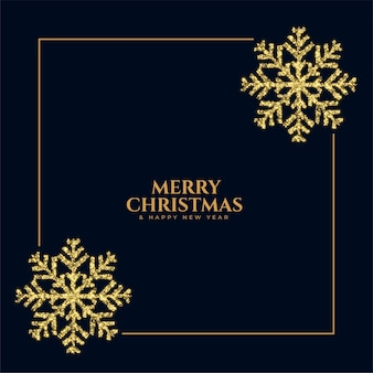 Merry christmas glitter sparkling snowflake frame background