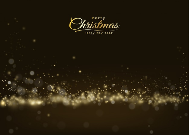 Merry christmas glittering golden light bokeh shining, sparkling luxury