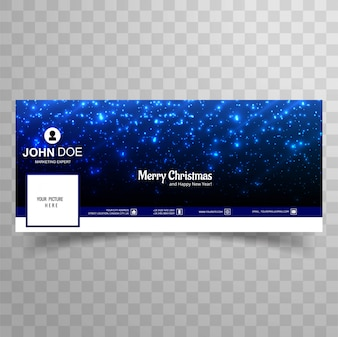 Merry christmas glitters shiny facebook banner template design