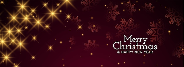Merry christmas glossy starry banner