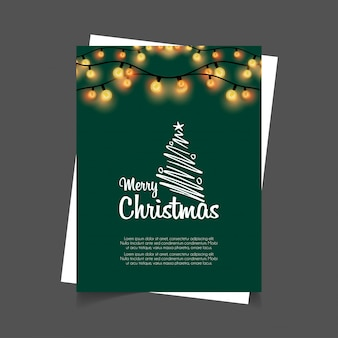 Merry Christmas Glowing Lights Green Background