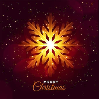 Merry christmas glowing snowflake festival card