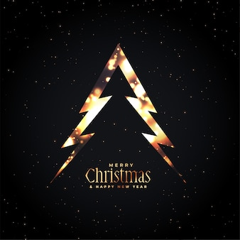 Merry christmas glowing tree dark