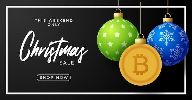 메리 크리스마스 골드 bitcoin 기호 배너입니다. 비트 코인 기호는 크리스마스 값싼 물건 공 매달려 인사말 카드입니다. 크리스마스, 금융, 설날, 은행, 돈에 대 한 벡터 이미지