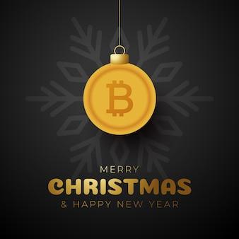 Счастливого рождества золотой символ биткойн баннер. биткойн знак как рождественский шар безделушки висит поздравительная открытка. векторное изображение на рождество, финансы, день нового года, банковское дело, деньги