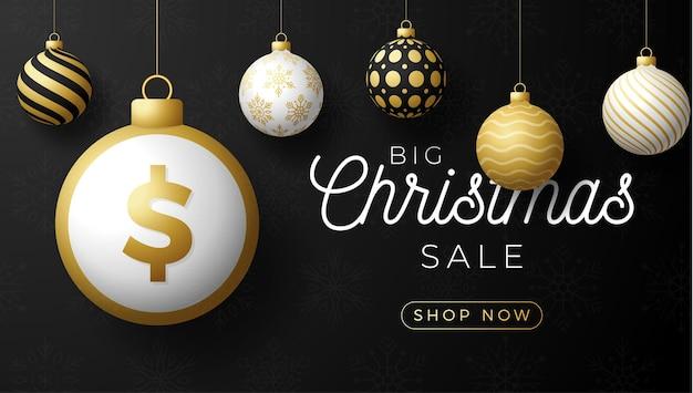 메리 크리스마스 골드 달러 기호 배너입니다. 크리스마스 값싼 물건 공 매달려 인사말 카드로 달러 기호. 크리스마스, 금융, 설날, 은행, 돈에 대 한 벡터 이미지