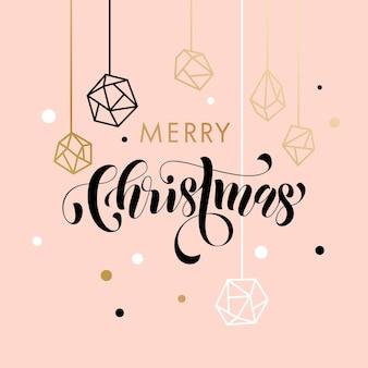 Merry christmas gold glitter gilding geometric gem crystal ornaments decoration
