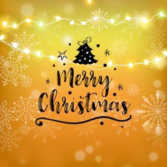 Счастливого рождества золотой блеск надписи. рождественская открытка, плакат, баннер.