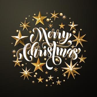 Merry christmas gold glitter stars greeting card