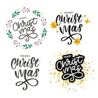 メリークリスマスゴールドのきらびやかなレタリングデザイン。