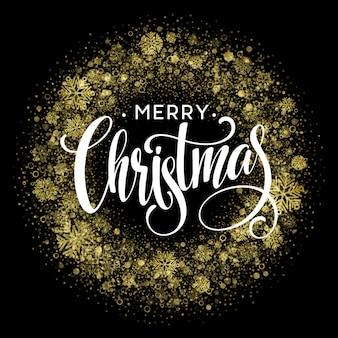 Merry christmas gold glittering lettering design