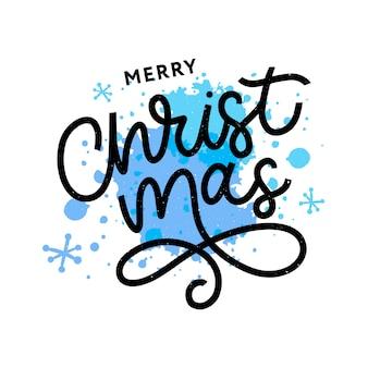 Merry christmas gold glittering lettering illustration