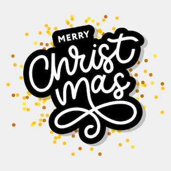 Merry christmas gold glittering lettering