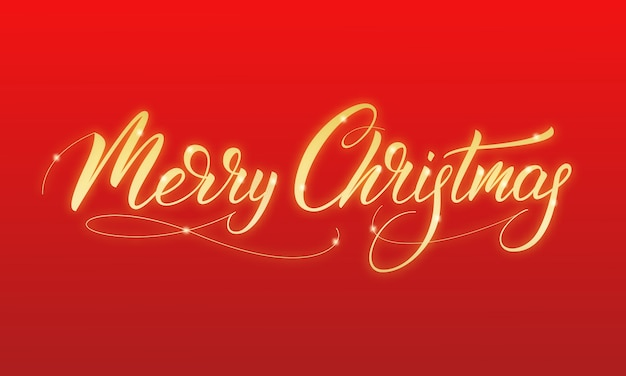 Merry christmas gold glowing calligraphy merry christmas