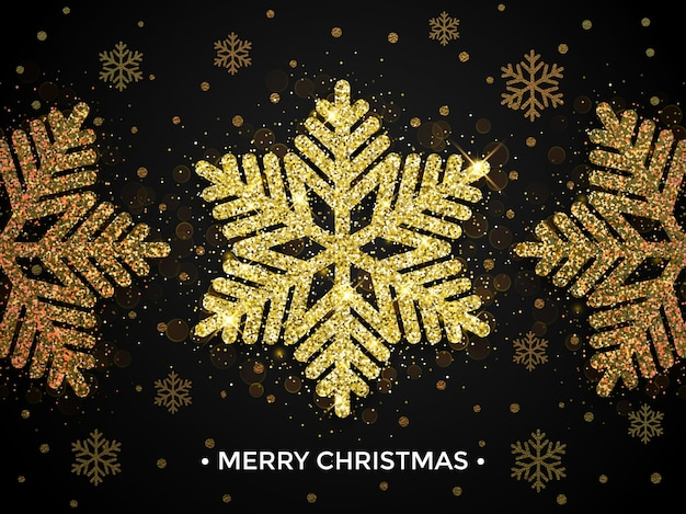 Merry christmas gold greeting card with snowflake glitter pattern