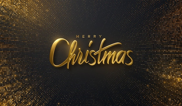 Merry christmas golden 3d lettering sign on black background with bursting glitters