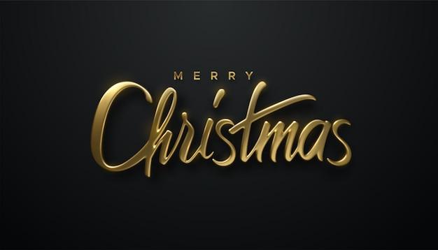 Merry christmas golden 3d lettering sign on black background