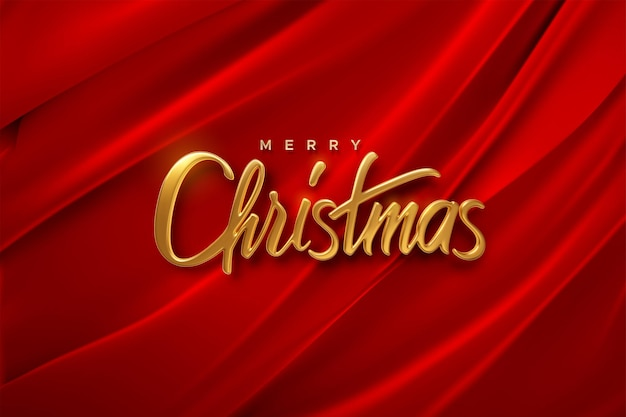 Merry christmas golden 3d lettering sign on red folded fabric background