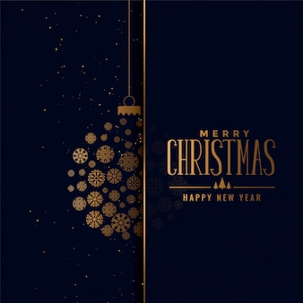 Merry christmas golden ball made with snowflakes background
