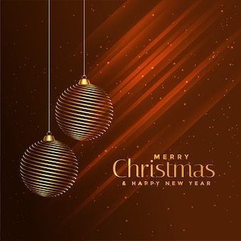 Merry christmas golden balls on shiny brown background