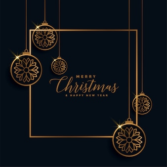 Merry christmas golden and black festival card